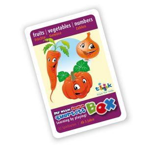 Sprachlernspiel. Quartett. fruits, vegetables, numbers. Zum Englisch Lernen für Kinder.