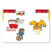 Sprachlernspiel. Sprachbox - clothes. Buchinnenseite ist Bestandteil der Sprachbox. Zum Englisch Lernen für Kinder.