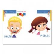 Sprachlernspiel. Sprachbox - face and bodyparts. Buchinnenseite ist Bestandteil der Sprachbox. Zum Englisch Lernen für Kinder.