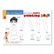 Sprachlernspiel. Sprachbox - face and body parts. Malbuchinnenseite ist Bestandteil der Sprachbox. Zum Englisch Lernen für Kinder.