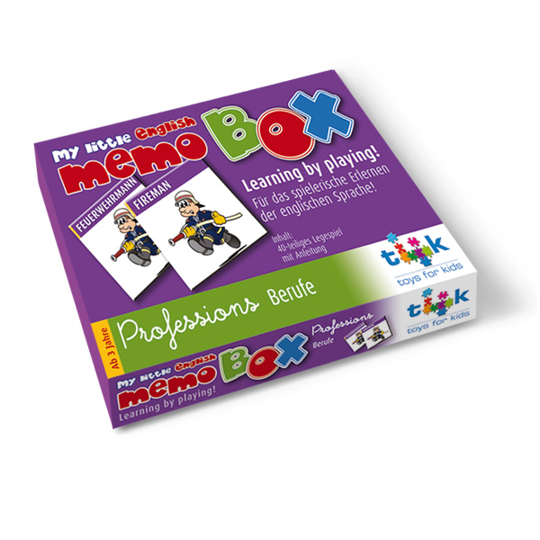 Englisch für Kinder, Lernspiel, Sprachlernspiel memo box professions. Zum Englisch Lernen für Kinder. Sprachspiele für Englisch aus Augsburg